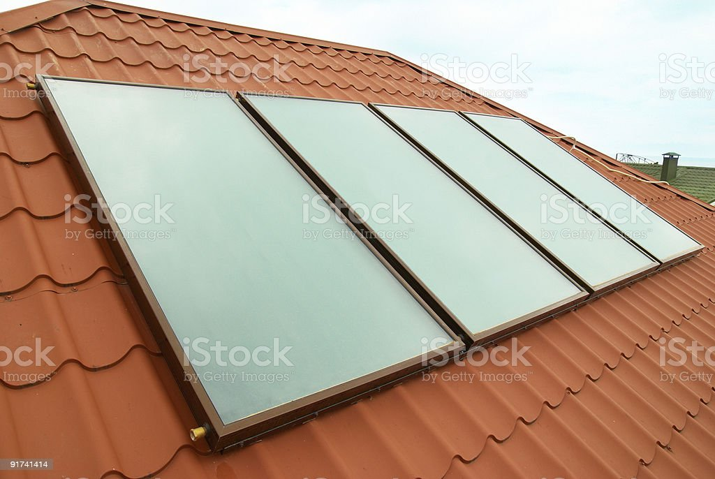 Solar water heating system royalty-free stock photo