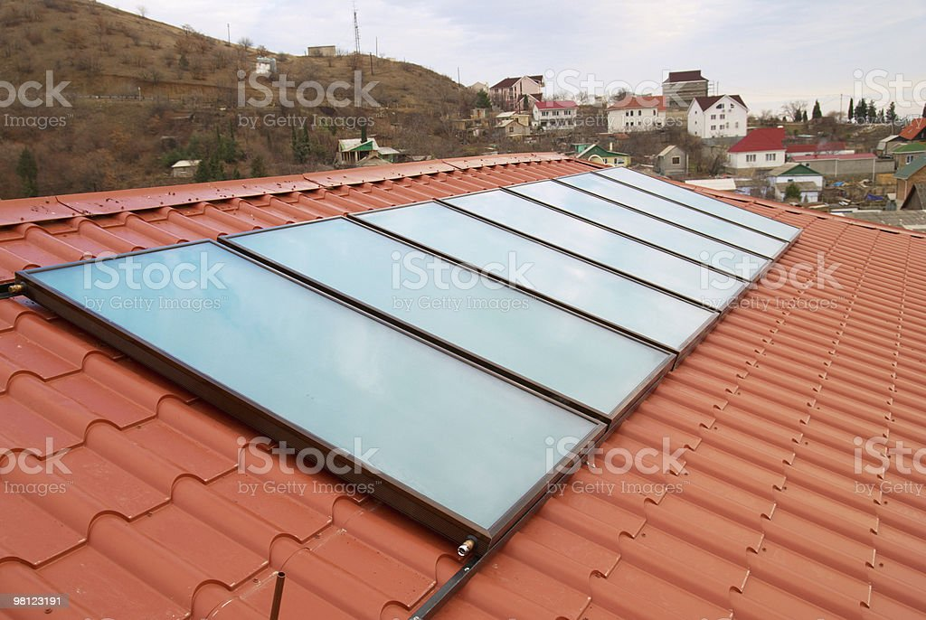 Solar water heating system. royalty-free stock photo