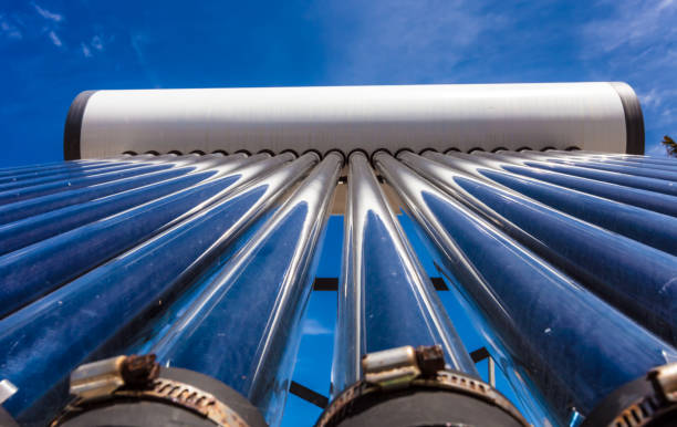 Solar water heating thermal collector system stock photo