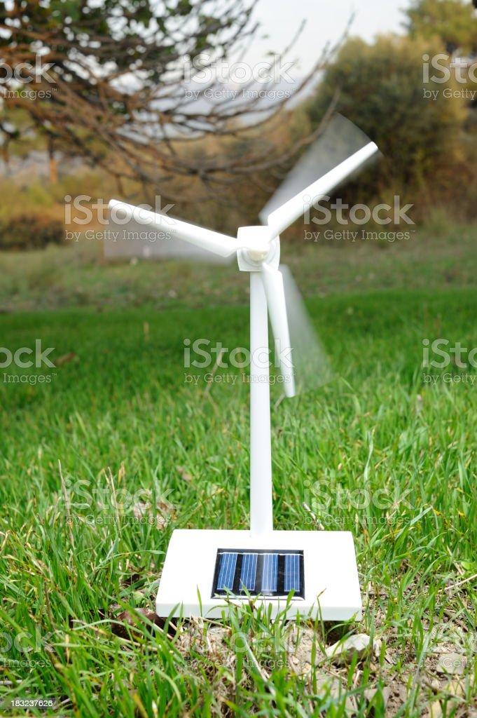 Solar wind turbine in nature royalty-free stock photo