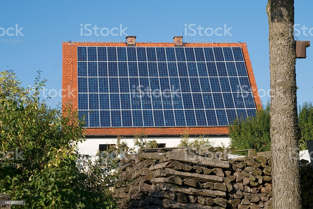 solar-house sustainable home stock photo