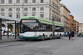 Rome, Italy - 29th May, 2018: Trolleybus Solaris Ganz Trollino 18 stopped on a bus stop. This model is one of the most popular trolleybuses in Europe.