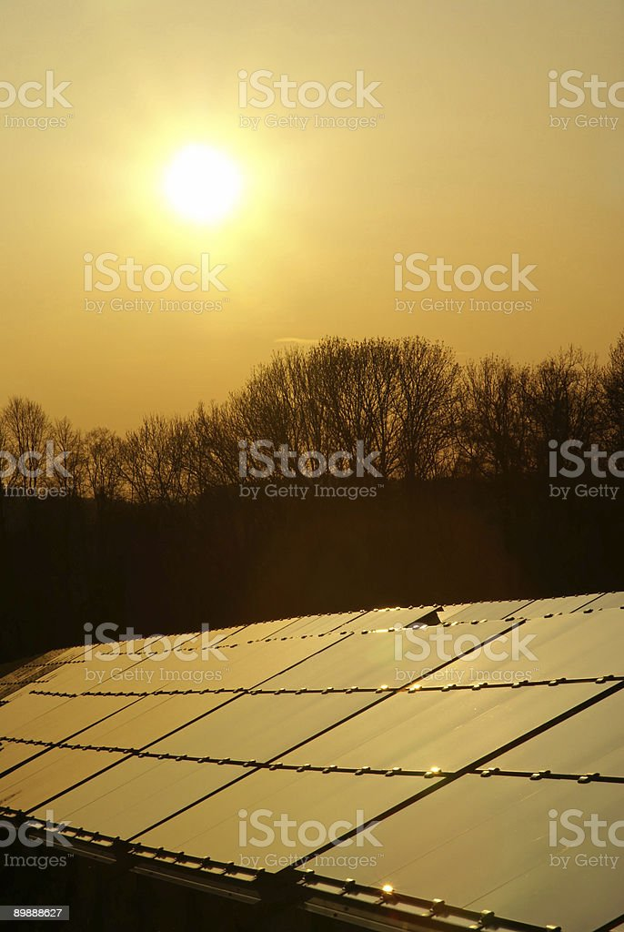Solarplatten im Abendlicht royalty-free stock photo