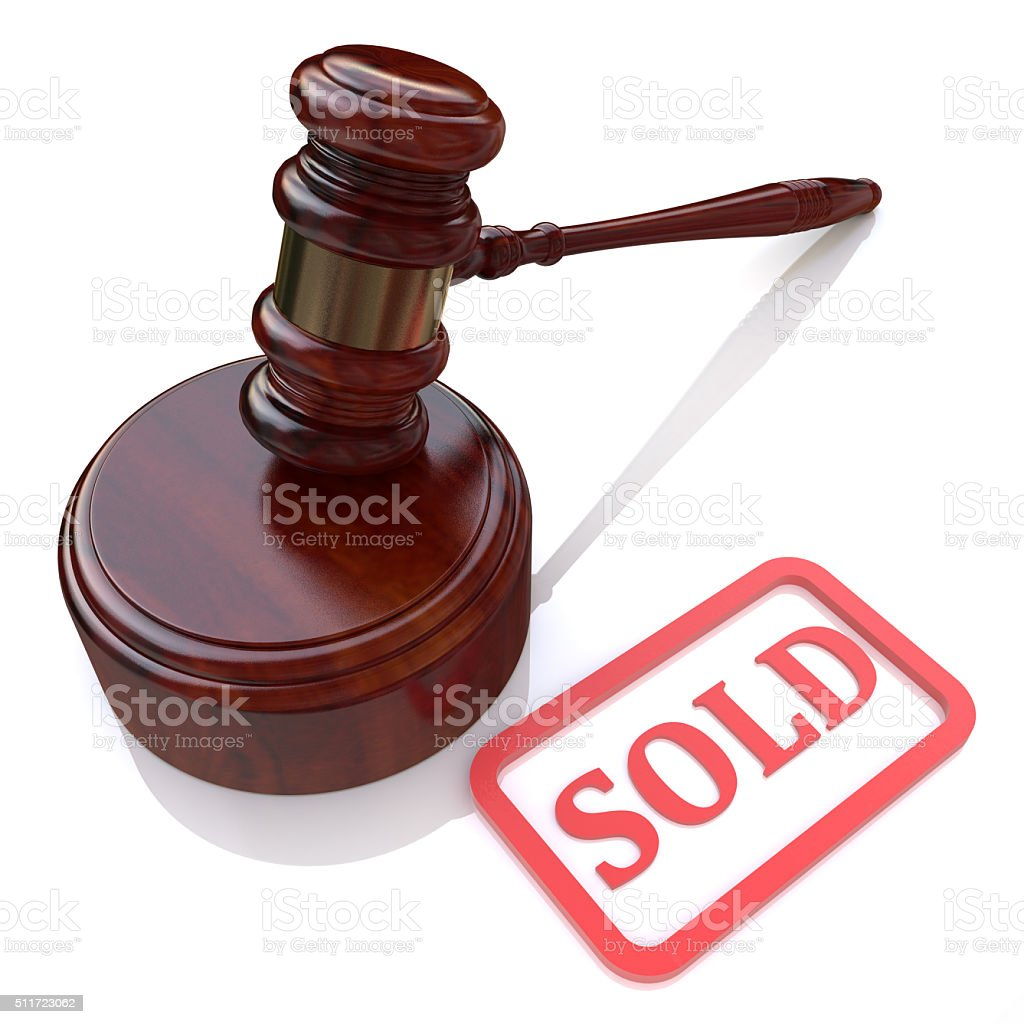 Sold auction stock photo