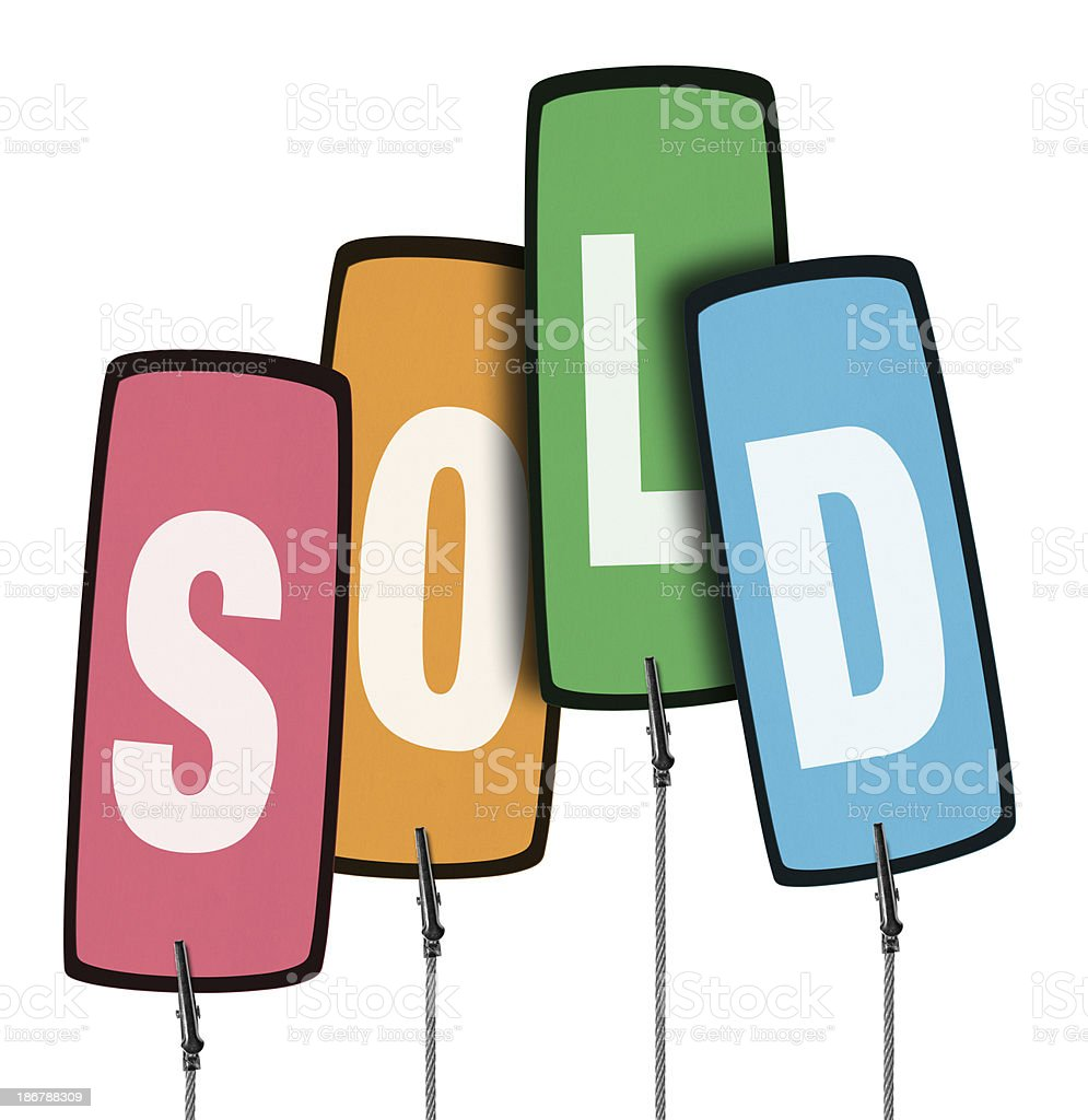 Sold Colorful Tag in Wire Clamp 4 (Clipping Path) royalty-free stock photo