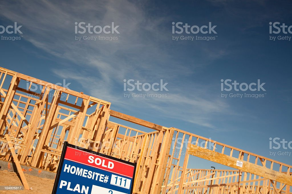Sold Lot Sign at New Home Construction Site royalty-free stock photo