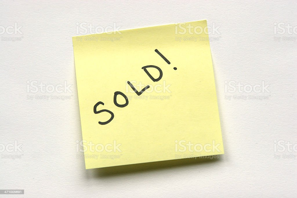 Sold notice stock photo