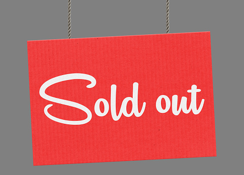 istock Sold out sign hanging from ropes. Clipping path included so you can put your own background. 926168302