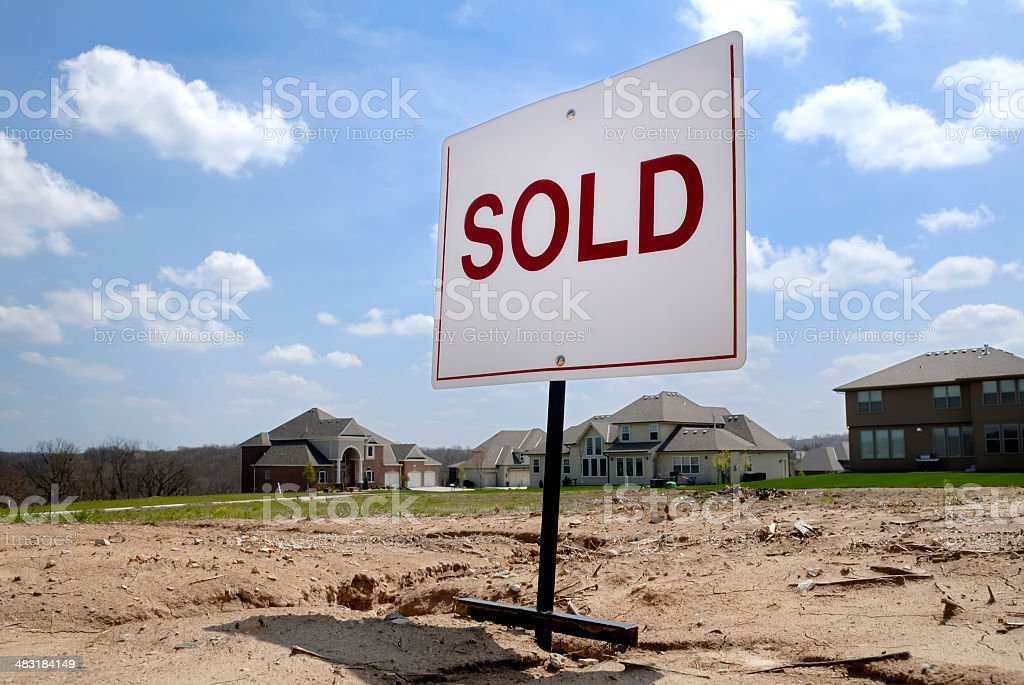 Sold Real Estate Property for New Home Construction stock photo