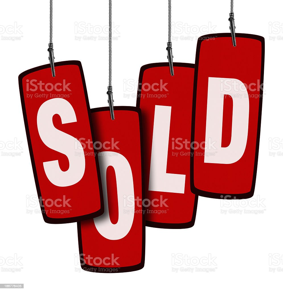 Sold Tag in Wire Clamp 4 (Clipping Path) royalty-free stock photo