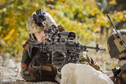 istock solder aim at a target of weapons 469932534