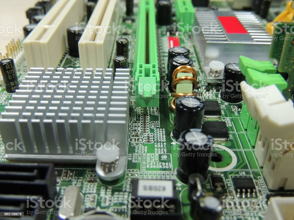 Soldered Radio Components On Computer Circuit Board Close Up Stock Main Royalty Free Photography Image Photo