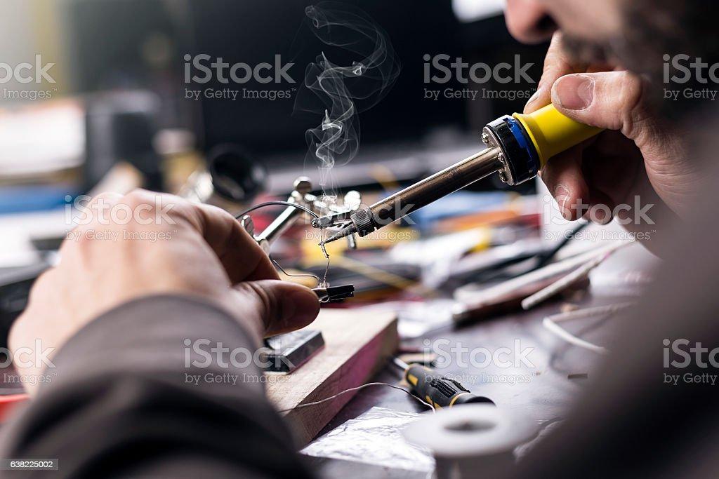 Soldering closeup stock photo