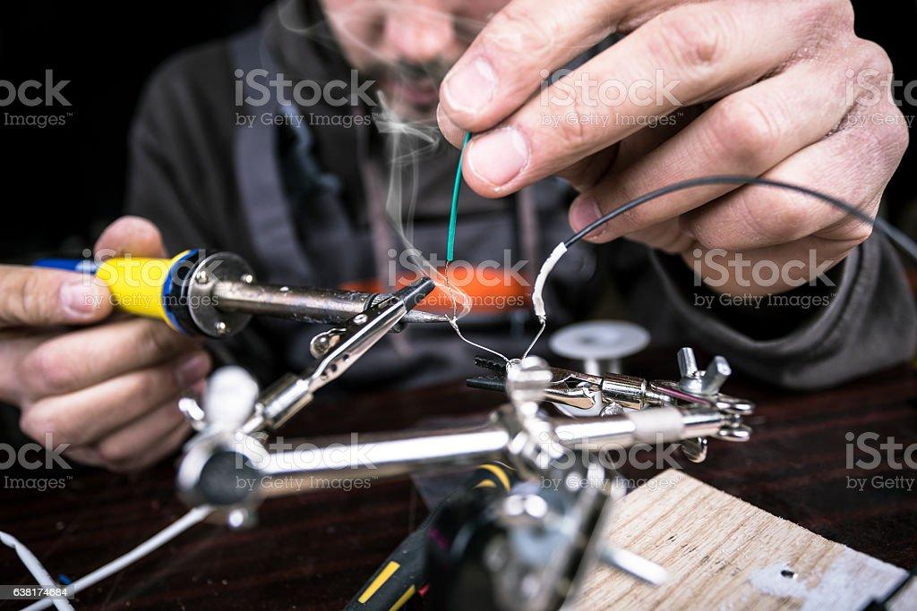 Soldering wires stock photo