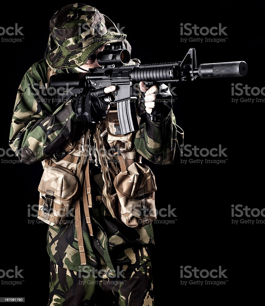 DPM soldier aiming royalty-free stock photo
