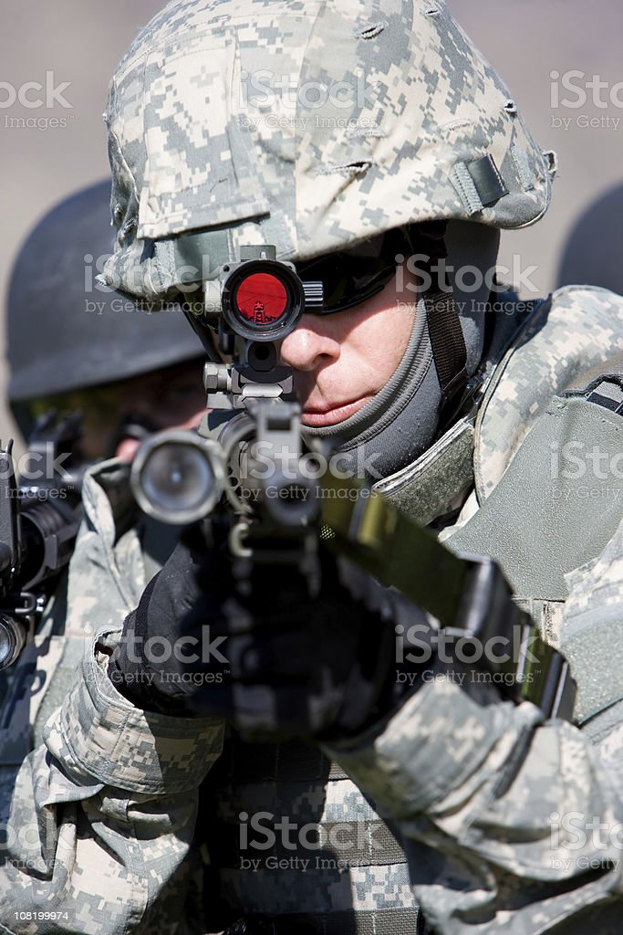 Soldier Aiming Rifle royalty-free stock photo