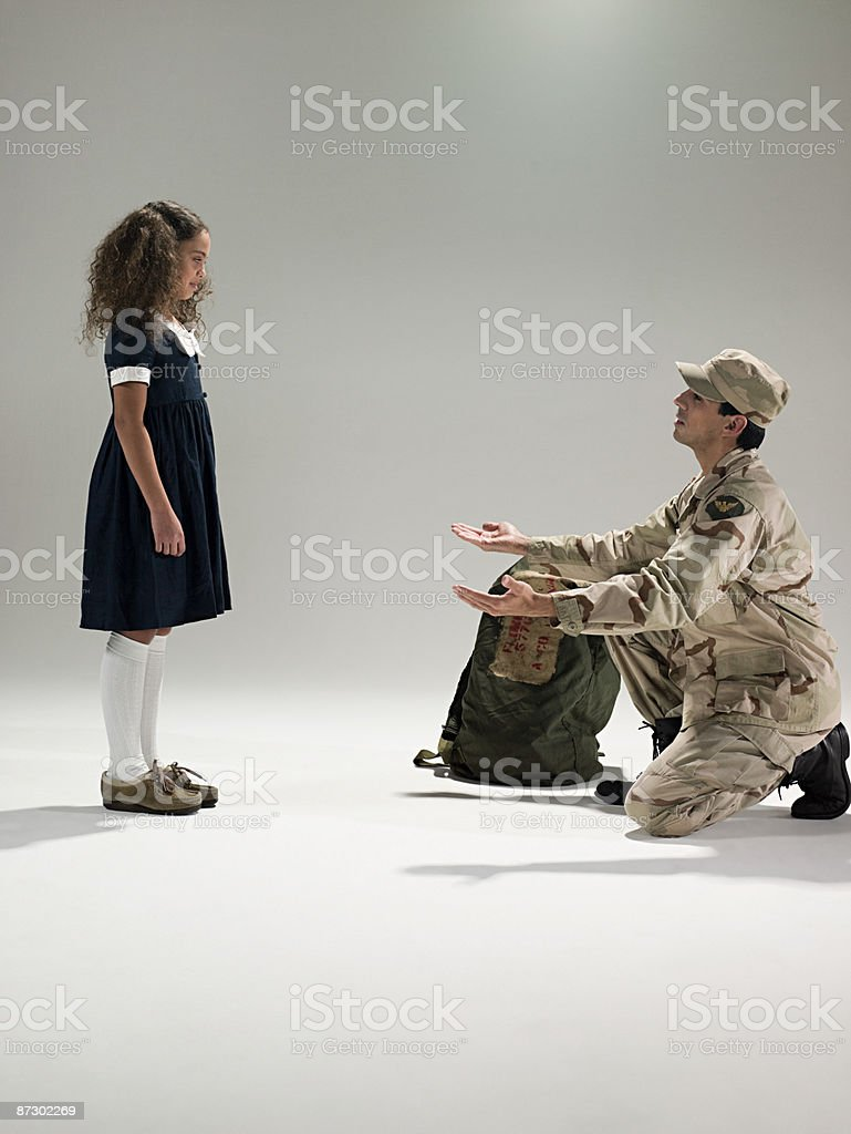 Soldier and daughter royalty-free stock photo