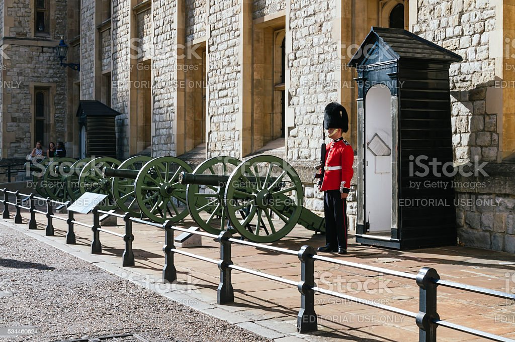 Soldier at the Tower of London stock photo