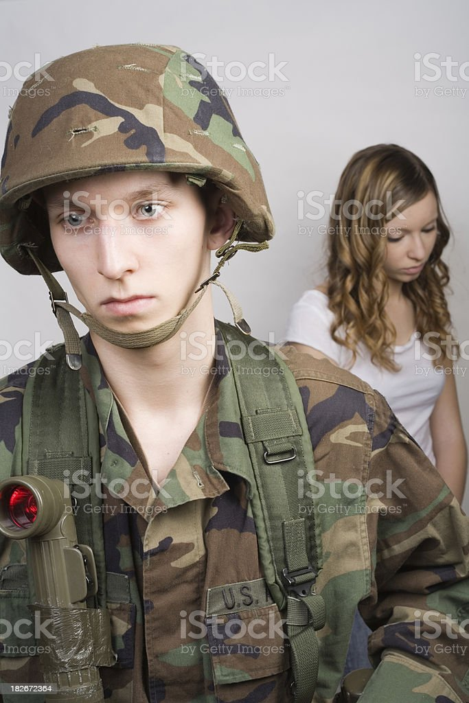 US soldier before deployment royalty-free stock photo