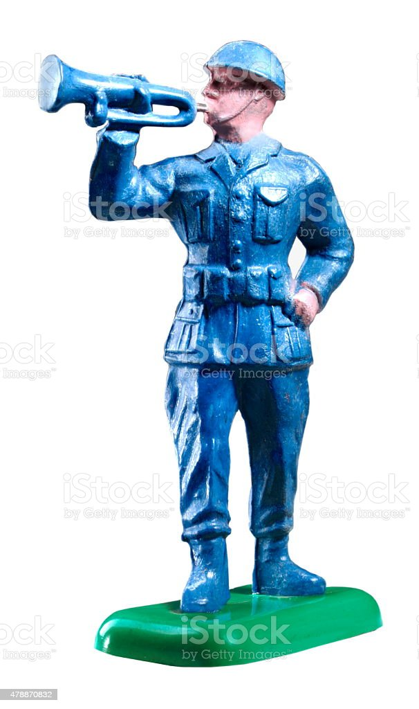 Soldier Blowing Bugle stock photo