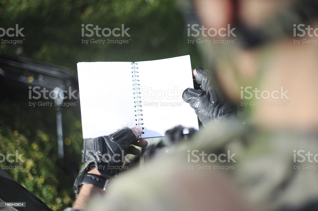 Soldier book stock photo