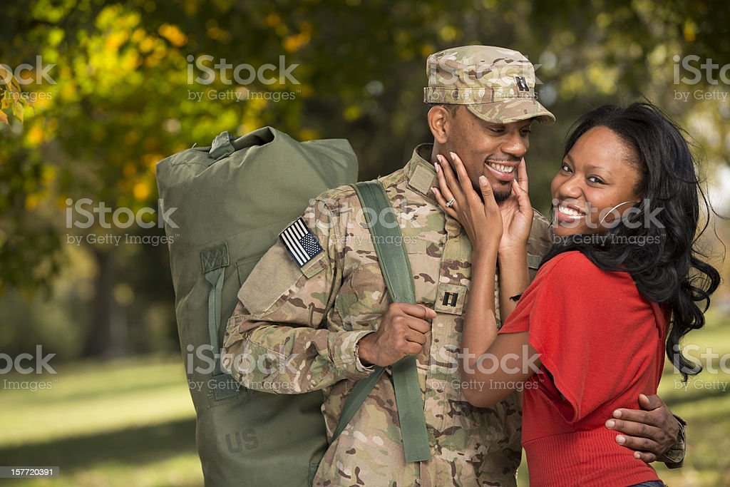 US Soldier comes home from deployment stock photo
