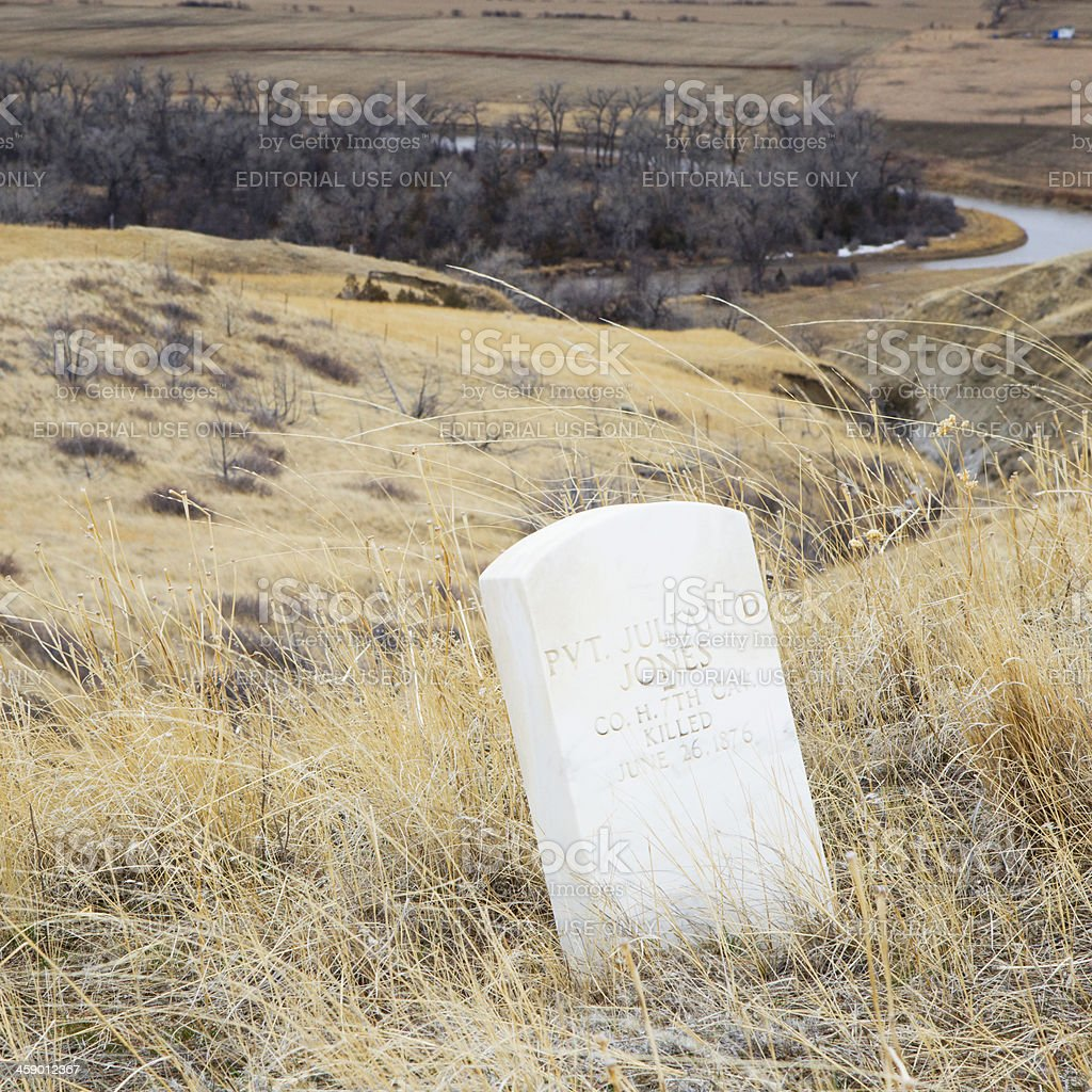 US Soldier Death Markers at Little Bighorn Battlefield Monument stock photo