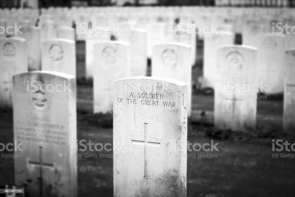 soldier great war cemetery flanders fields Belgium stock photo