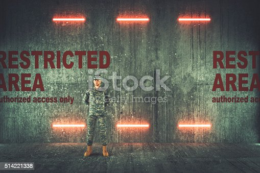 Soldier guarding restricted military area.