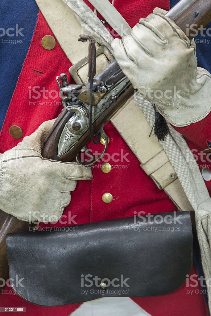 Soldier Holding His Musket stock photo