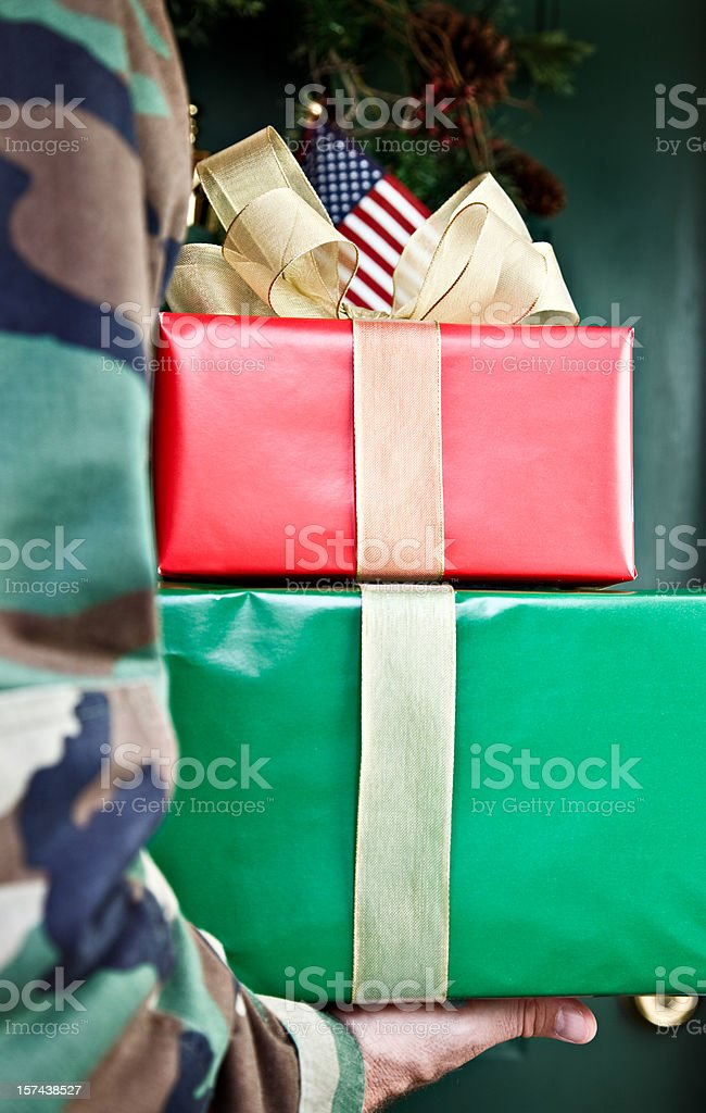 Soldier Home for the Holidays royalty-free stock photo