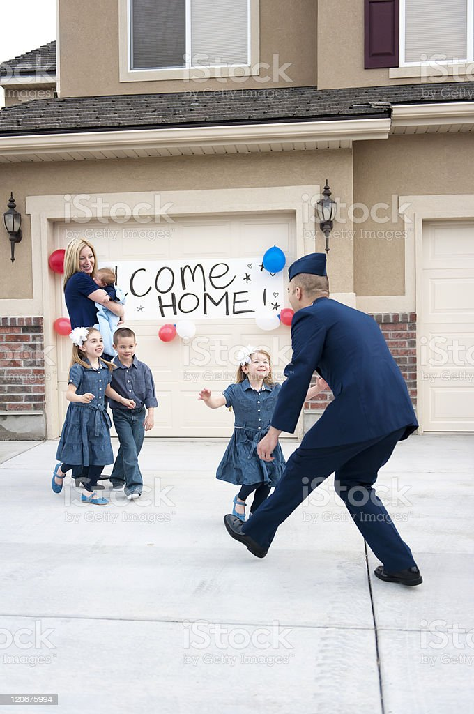Soldier homecoming stock photo