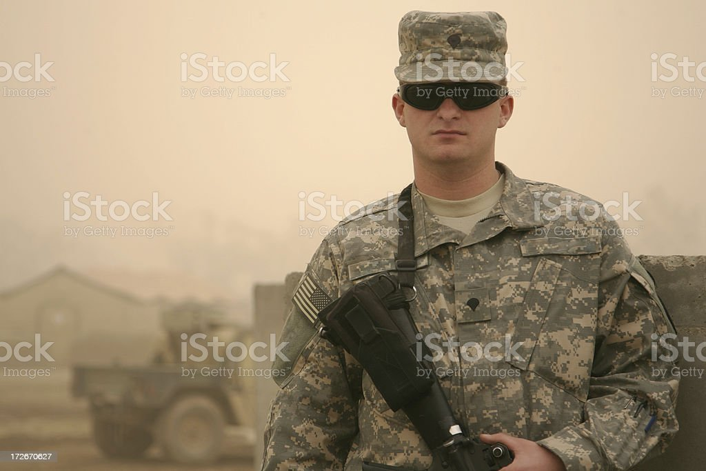 Soldier in a Sandstorm royalty-free stock photo