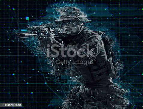 modern warfare American marines soldier aiming  on laser sight optics  in combat position and searching for target glitch effect