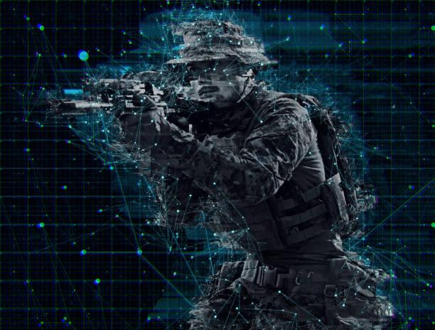 Soldat im Kampf zielweise Laser Sichtoptik Glitch – Foto