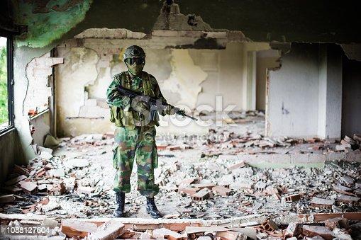 Soldier in Building