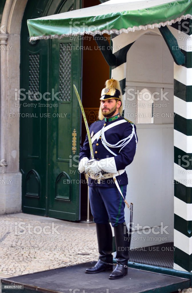 Soldier in dress uniform at the HQ of the National Republican Guard - Guarda Nacional Republicana, Lisbon, Portugal - Quartel do Carmo stock photo