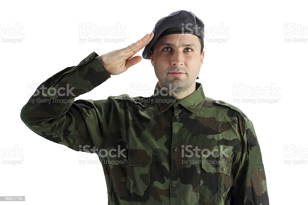 Soldier in fatigues uniforms. royalty-free stock photo