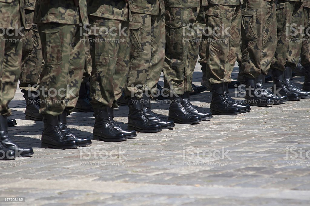 Soldier in formation stock photo