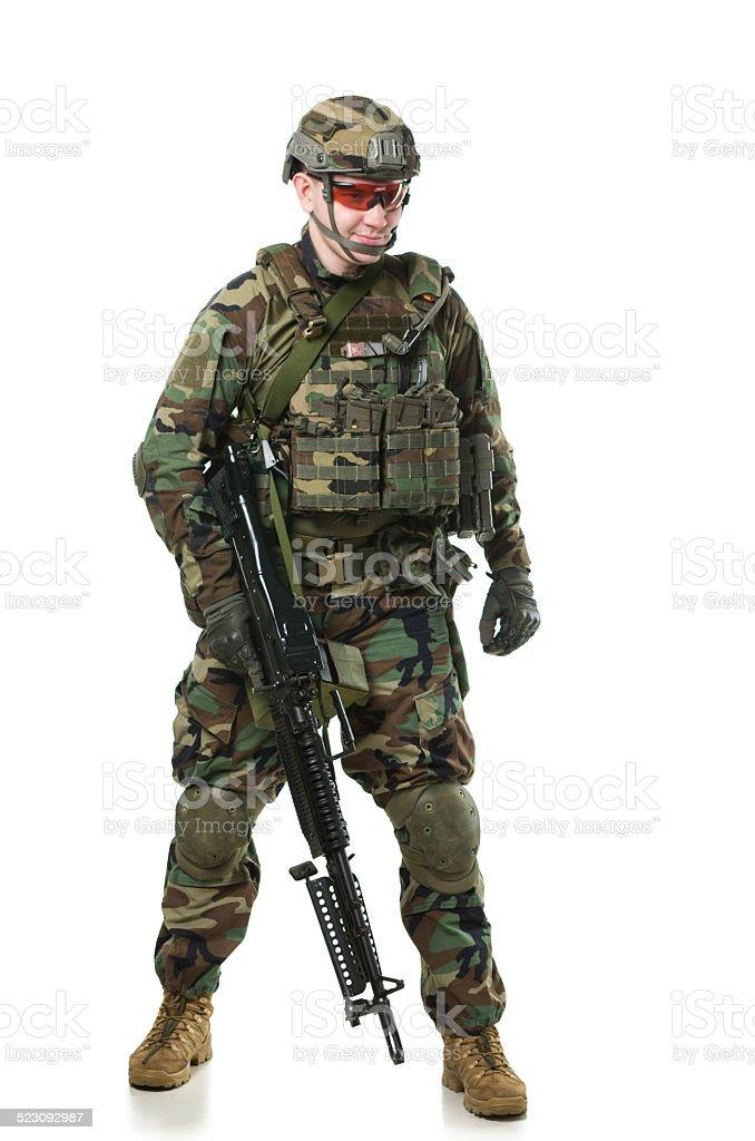 NATO soldier in full gear. stock photo