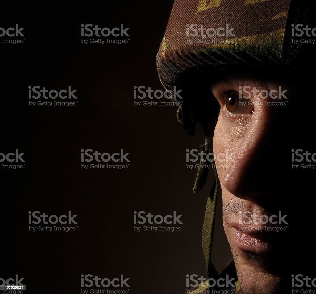 Soldier in Shadow stock photo