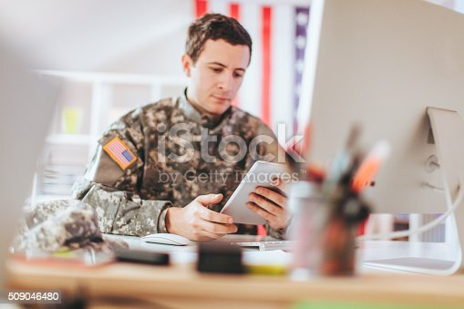 istock Soldier in the office 509046480
