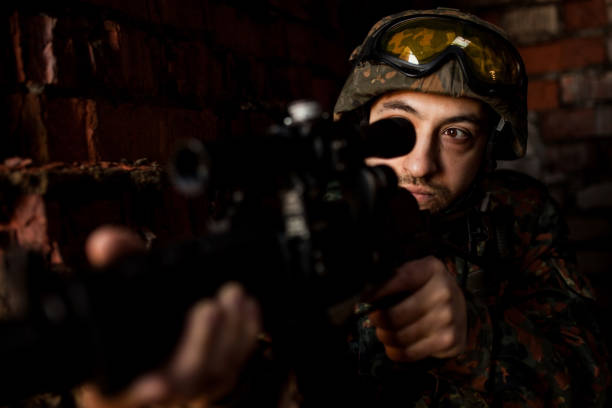 Soldier in the war with arms stock photo