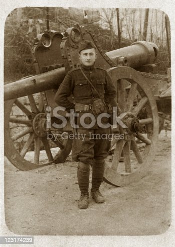 istock Soldier in Uniform with Cannon 123174239