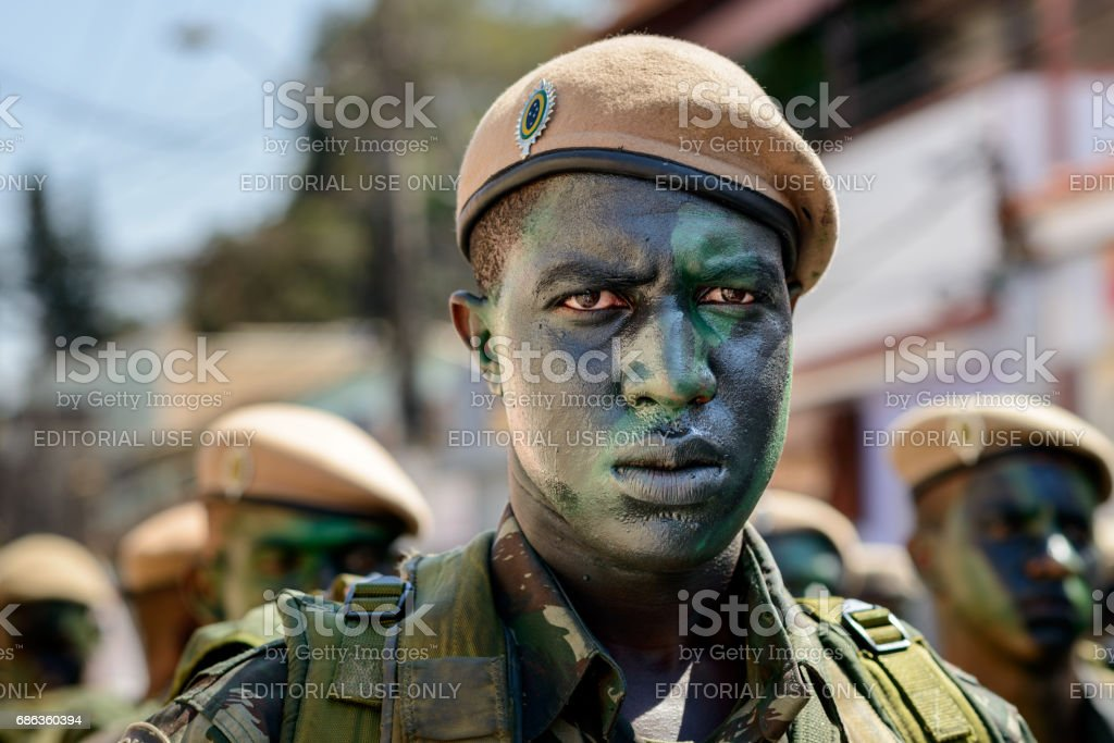 Soldier makeup camouflage jungle stock photo