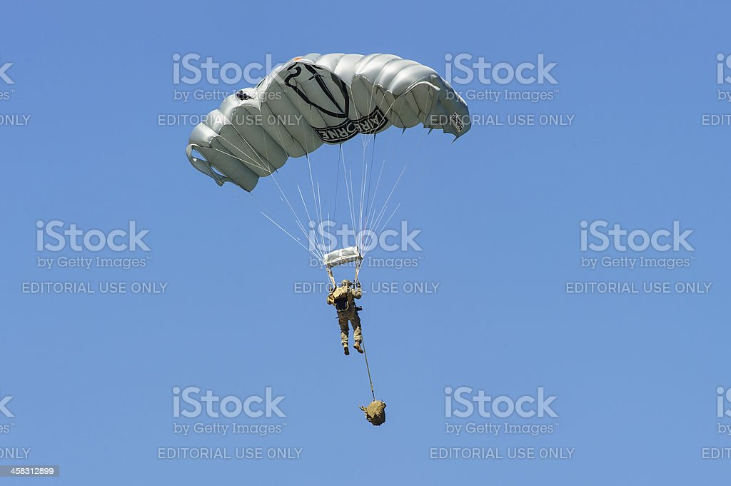 Soldier making parachute drop royalty-free stock photo