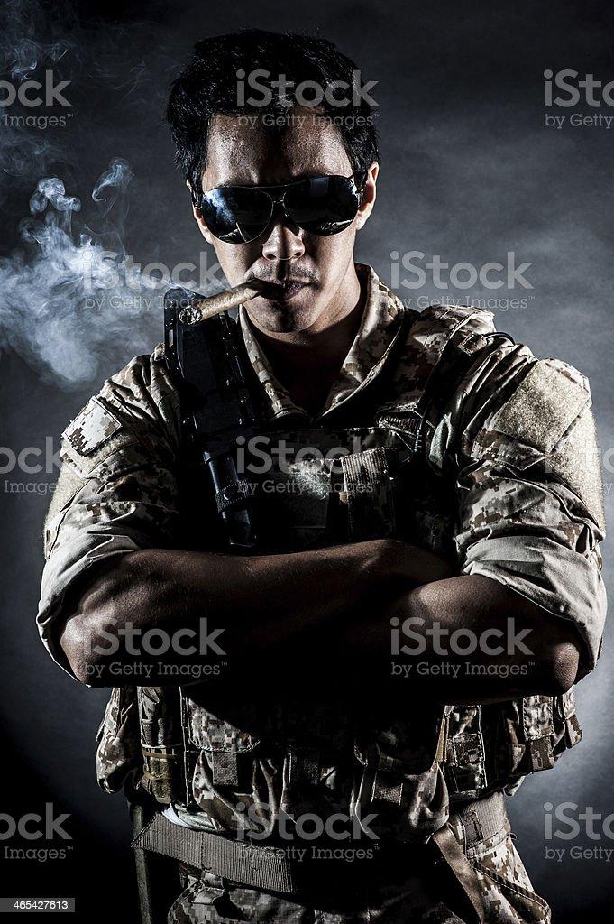 soldier man sunglasses Cigar fashion royalty-free stock photo