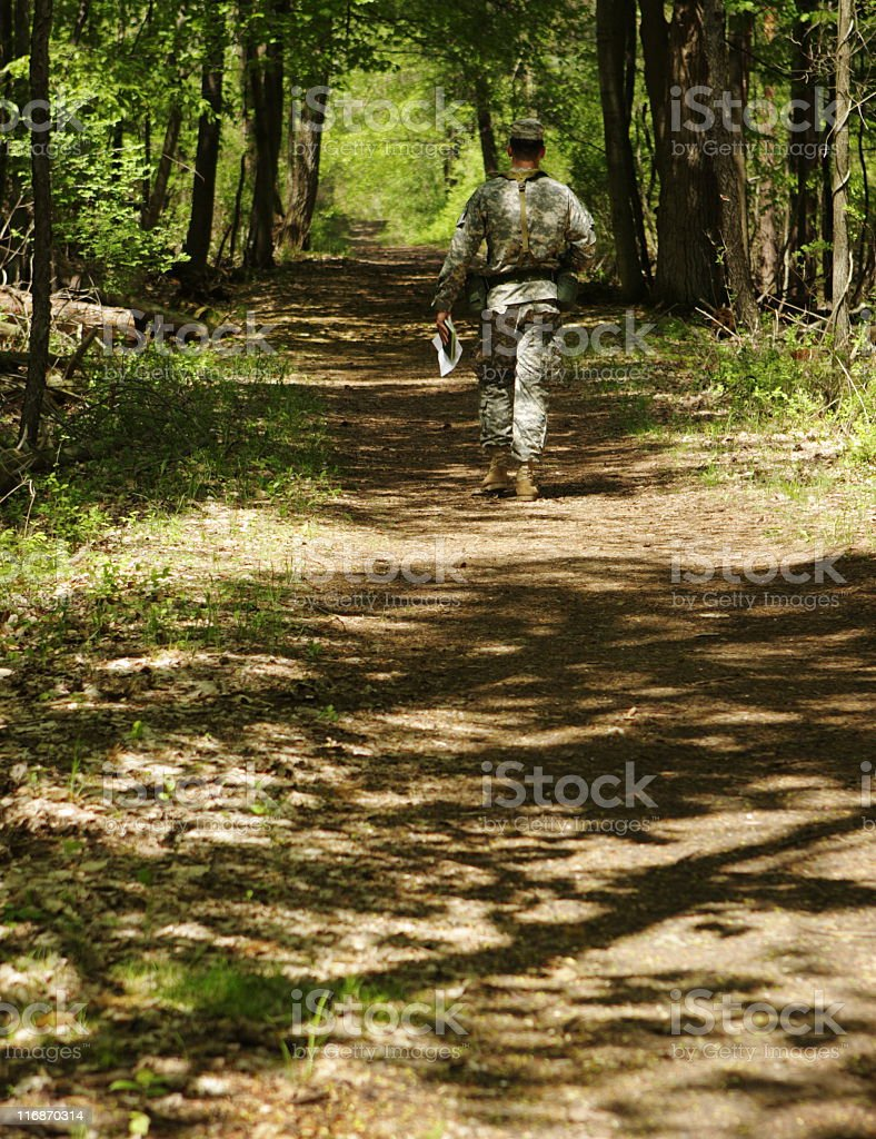 Soldier Military Camouflage Orienteering Forest Trail royalty-free stock photo