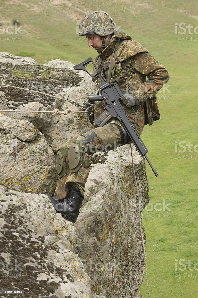 Soldier mountaineering royalty-free stock photo