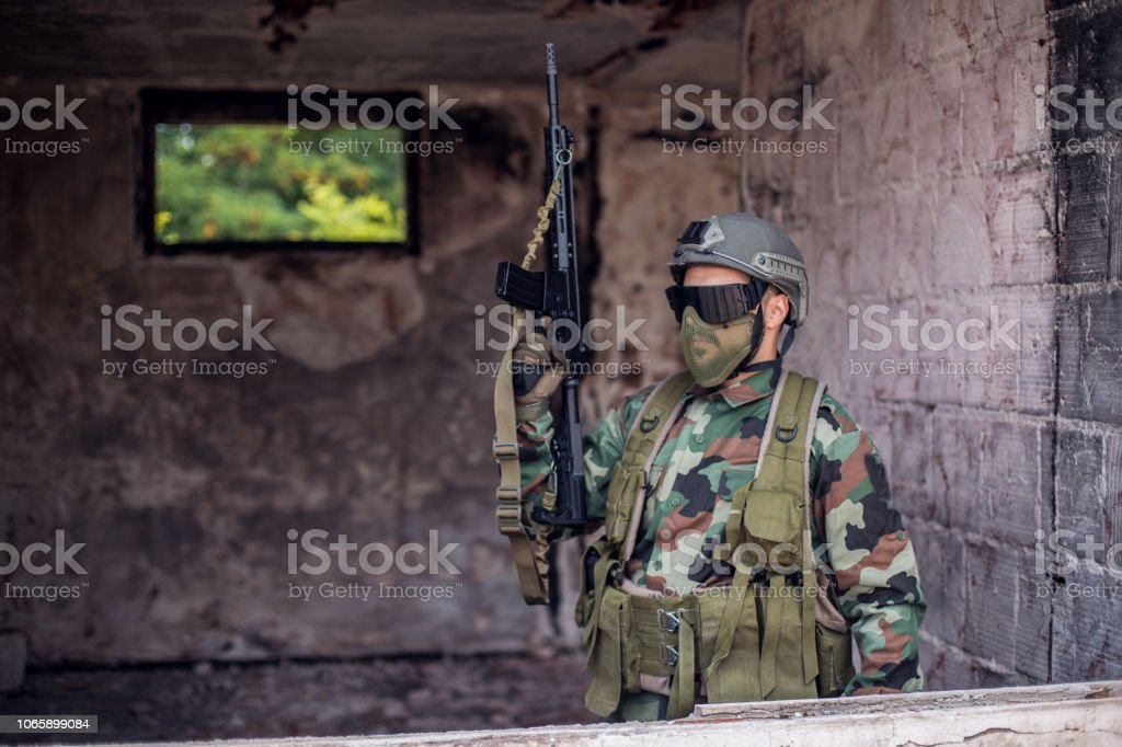 Soldier of fortune stock photo